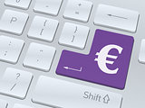Euro sign concept on button of white computer keyboard.