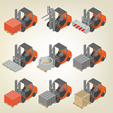 Icon forklift with cargo isometric, vector illustration.