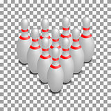Skittles for bowling isometric, vector illustration.