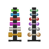Stand with a dumbbell set, vector illustration.