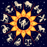 Twelve Zodiac signs around the Sun and Ophiuchus