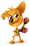 Funny yellow dog plays maracas