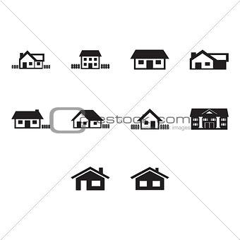 Flat black home icon set