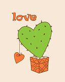 green cactus-heart with heart