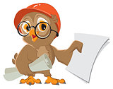 Owl engineer builder in helmet with drawings paper