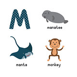 Cute zoo alphabet in vector.M letter. Funny cartoon animals: manatee, manta, monkey