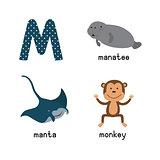 Cute zoo alphabet in vector.M letter. Funny cartoon animals: manatee, manta, monkey
