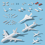Various passenger airplanes and maintenance equipment for airport isometric icons set