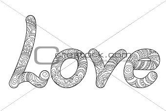 black word Love in zen style