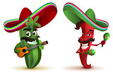 Red hot chili peppers and cactus in Mexican hat sombrero dancing maracas