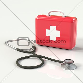 First aid kit with stethoscope