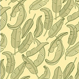 Vector seamless pattern with tropical banana leaves.