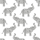 Seamless pattern with hand-drawn tribal styled elephant.