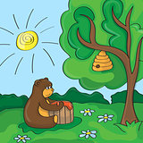 Funny vector cartoon - cute bear with honey