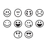 Thin line emoticons icon set