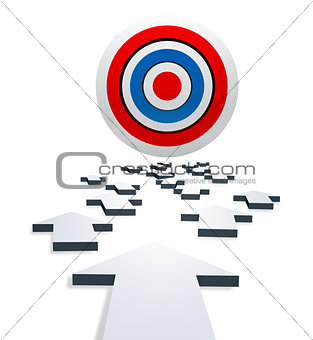 A bright target with gray arrows. Isolated