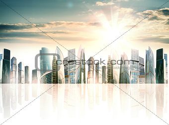 A city of skyscrapers against sunrise