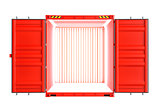 Red metallic open shipping container