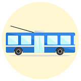 Cute colorful flat trolley bus icon