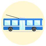 Cute colorful flat trolley bus icon