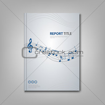Brochures book or flyer with musical notes on front side