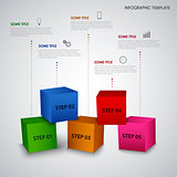 Info graphic with abstract colored cubes template