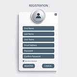Register web screen with blue design template