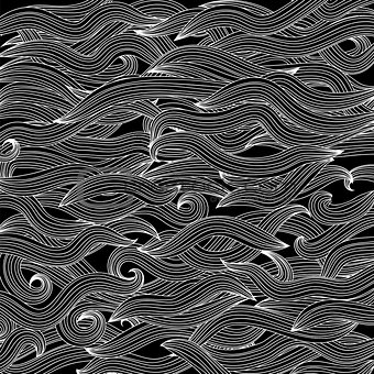 Abstract Black Wave Background