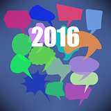 Colorful New Year Speech Bubbles