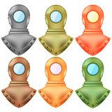 Set of Colorful Old Metal Diving Helmets