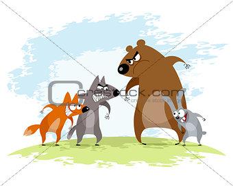 Four animals conflict