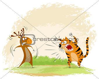 Tiger snarls on elk