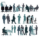 Set of businesspeople in office