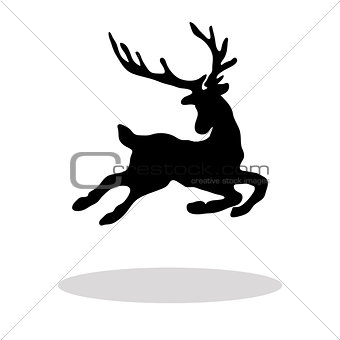 Black silhouette Christmas Reindeer white background