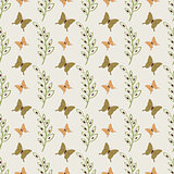 Cute butterflies seamless vector pattern background