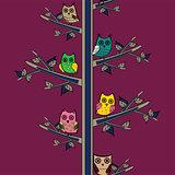 Owl tree branch vertical vector seamless pattern