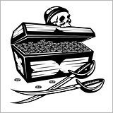 Open Pirate Chest With Golden Coins and skull