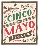 Cinco de Mayo fiesta lettering text. Retro flyer invitation