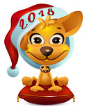 Yellow dog in santa hat symbol 2018