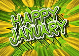 Happy January - Comic book style word.