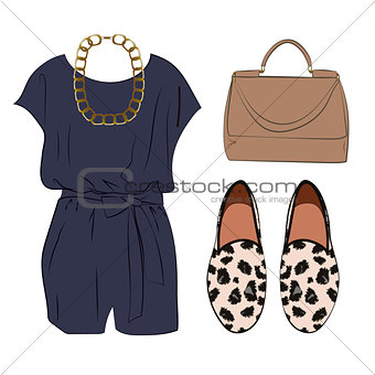 Casual chic styling idea, look with romper, bag and animal print shoes