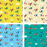 Different kids seamless vector pattern with airplanes and helico