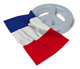 peace symbol and flag of france - 3d rendering
