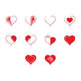 Flat color hearts icon set