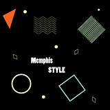 Modern poster, brochure or card geometric figures in Memphis style, perfect for web background or print wrapping decoration and fashion textile, fabric design.