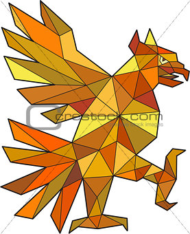 Cuauhtli Glifo Eagle Fighting Stance Low Polygon