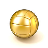 Golden volleyball ball isolated on white background. 3D