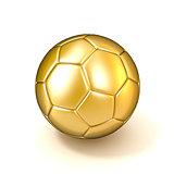 Golden football - soccer ball isolated on white background. 3D