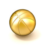 Golden basketball ball isolated on white background. 3D