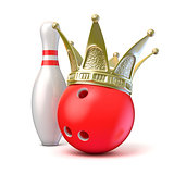 Golden crown on bowling ball and pin. 3D